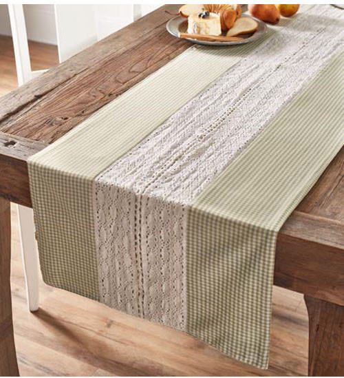 Table Runner Green & White Lace Gingham Print Cotton 72""