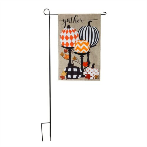 "Tall Iron Stand Flag Holder 89"" x 40"" Holds Large Flags"