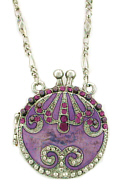 Amethyst Austrian Crystal Purse Locket Necklace