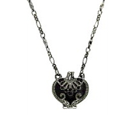 Heart Locket Necklace - Black