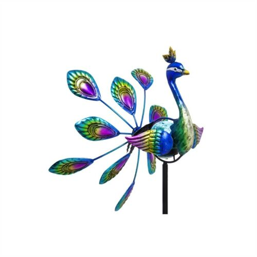 Peacock Solar Wind Spinner Outdoor Garden Decor