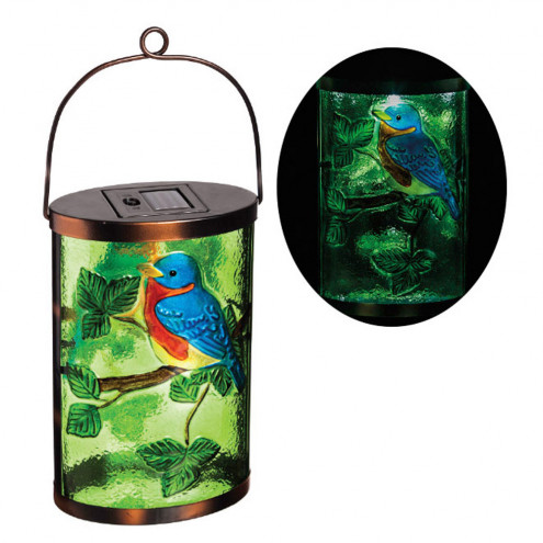 Blue Bird Hanging Solar Lantern