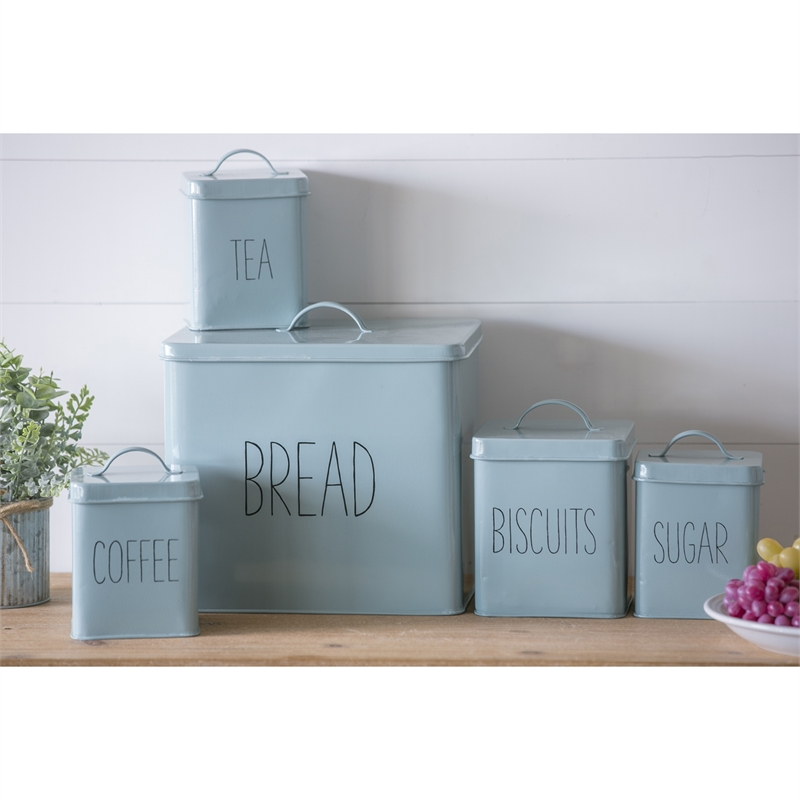 Teal Metal Kitchen Canisters Set of 5