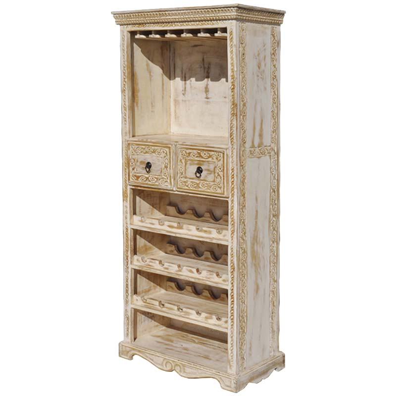 Whitewash Mango Wood Hand Carved Tall Wine Bar Cabinet
