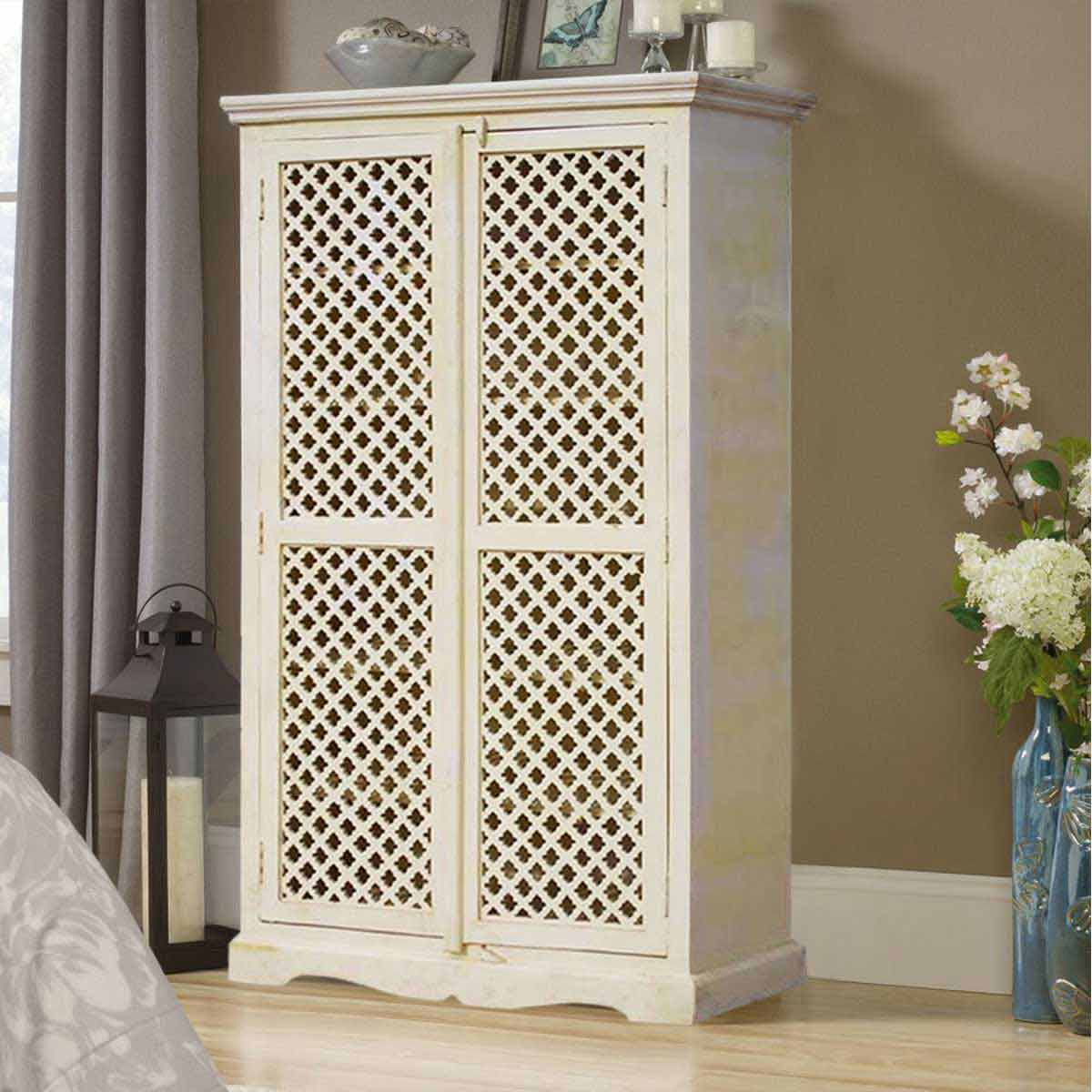 White Solid Wood Lattice Door Armoire