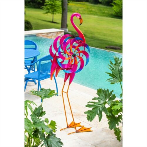 Large Flamingo Wind Spinner Kinetic Statue