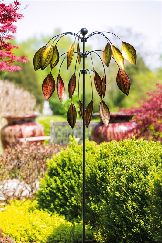 Leaves Kinetic Garden Stake Wind Spinner