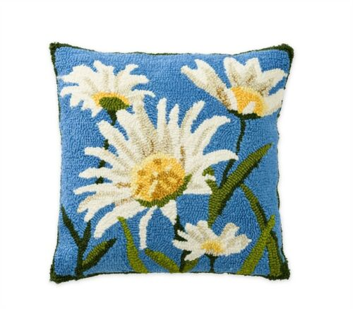"Daisies Floral Pillow Indoor Outdoor 18"" USA Made"