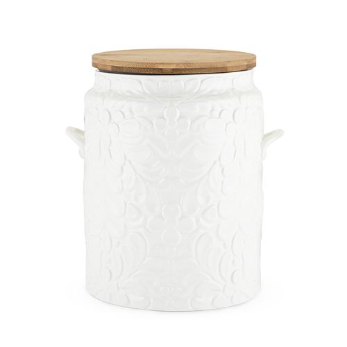 Cookie Jar Canister White Ceramic Wood Top