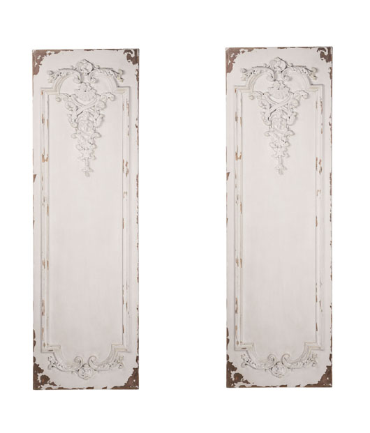 Distressed White Panel Wall Sculpture Set 2