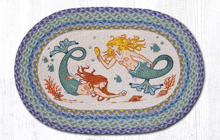 2 Mermaids Jute Rug Oval