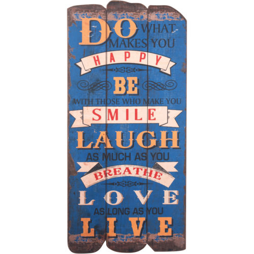 Be Happy Blue Wood Sign Smile Laugh Love Live