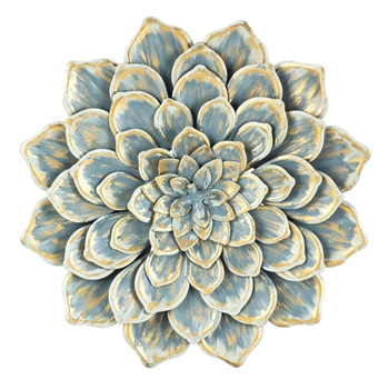 Multi Layer Blue Metal Wall Flower 24""