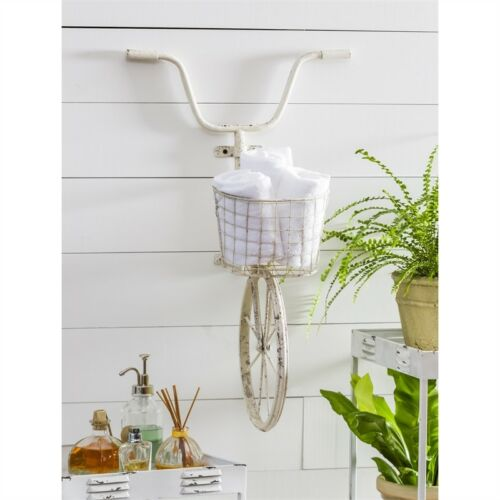 Bike Wall Basket White Distressed
