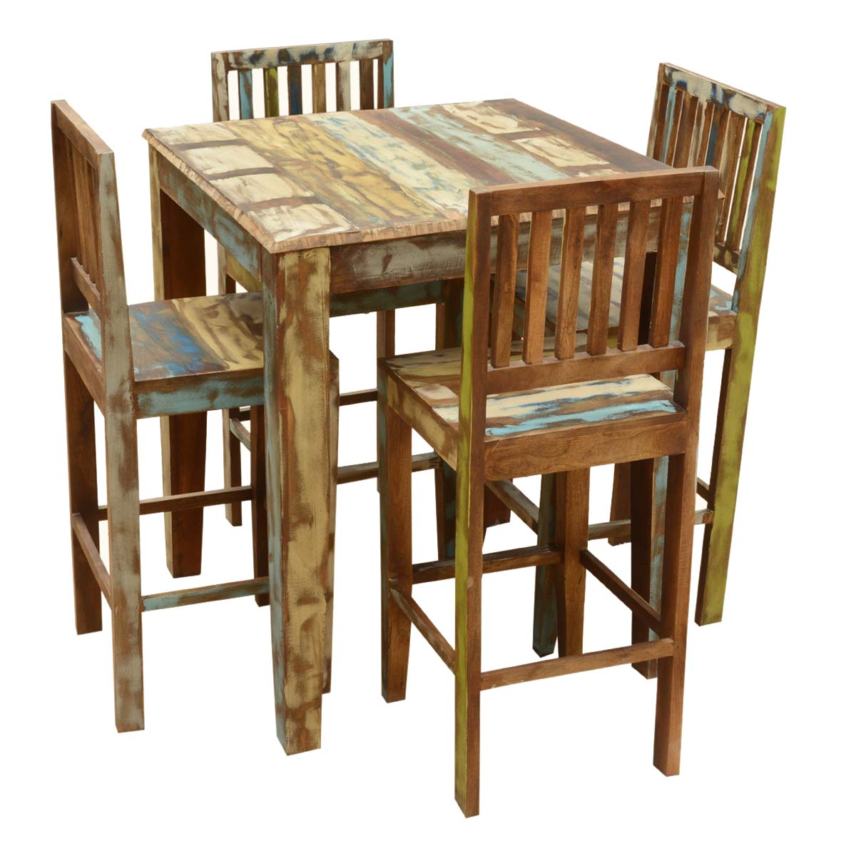 Rustic Reclaimed Wood High Bar Table & Chair Set