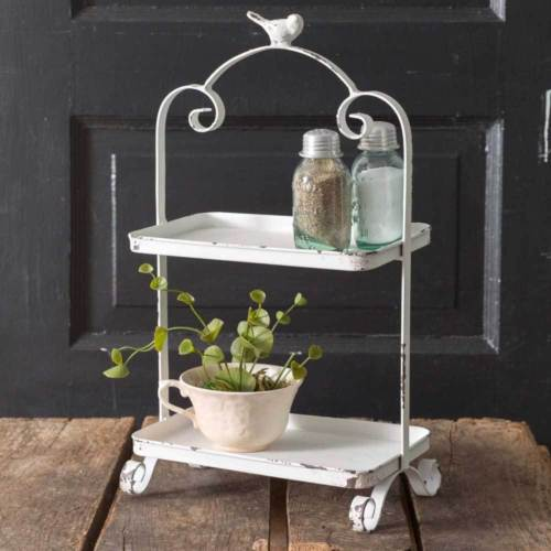 2 Tier Tray White Stand with Bird