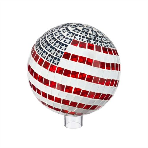 "10"" Mosaic Glass Gazing Ball US Flag"