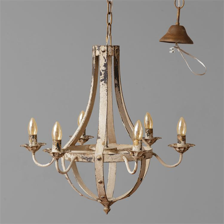 Distressed Vintage White Chandelier 6 Light