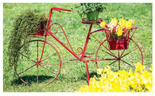 Red Metal Bicycle Plant Stand