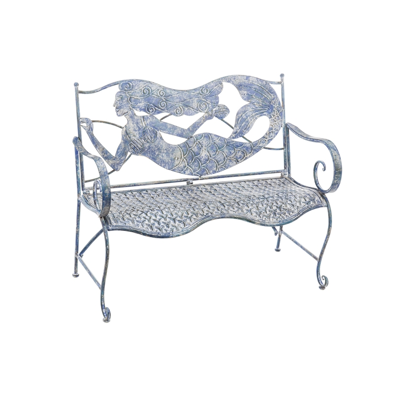 Blue Metal Mermaid Outdoor Bench