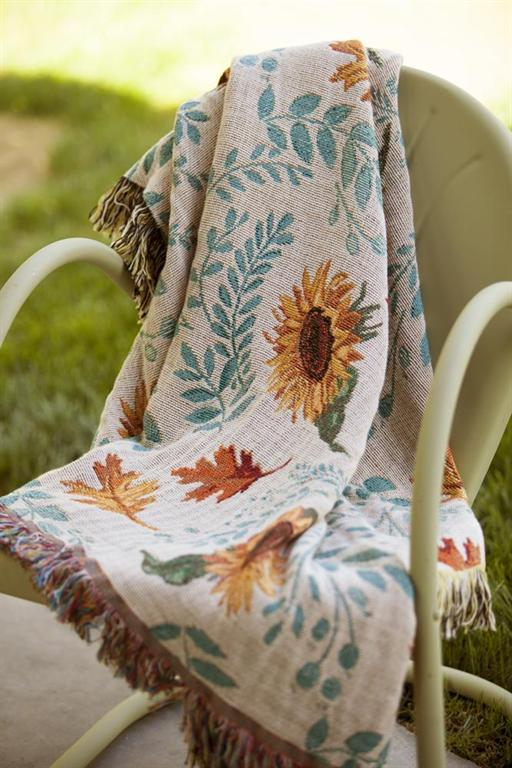 Sunflowers & Leaves Cotton Throw