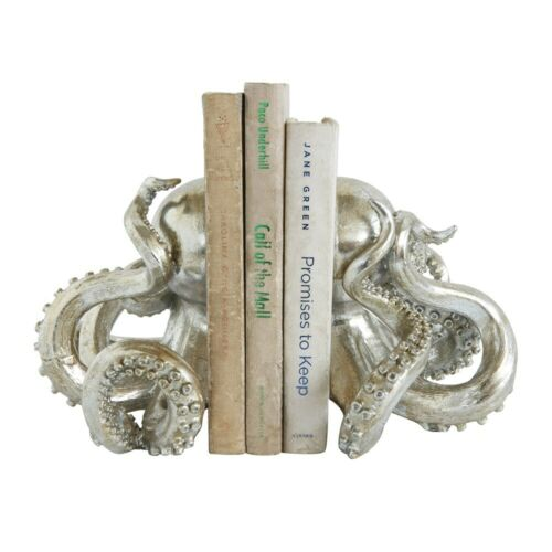 Octopus Bookends Silver Resin