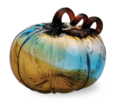 Blue Glass Pumpkin Medium