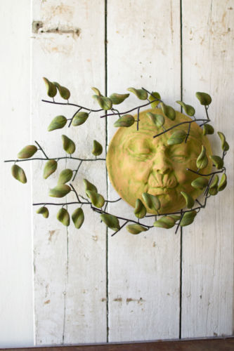 Sun Face with Clay Leaves Wall Art