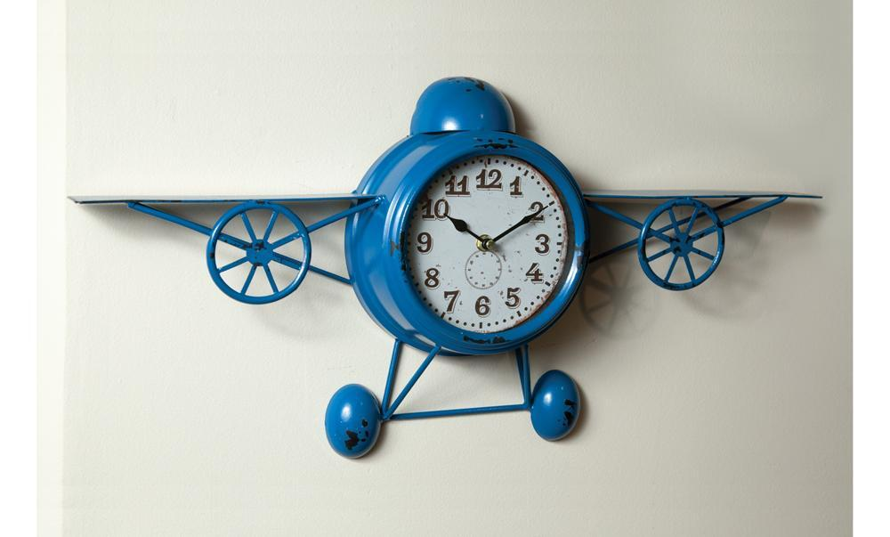 Blue Airplane Wall Clock