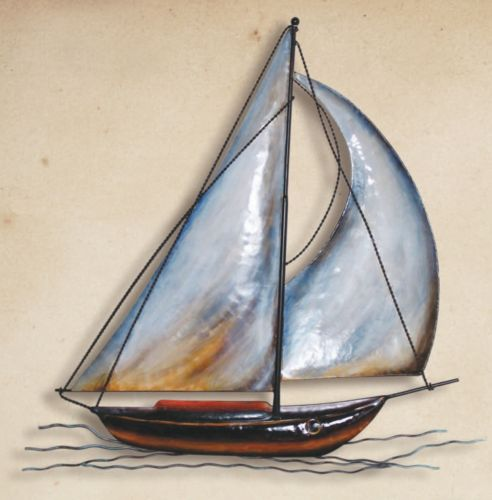 Metal Sailboat Wall Art Sculpture