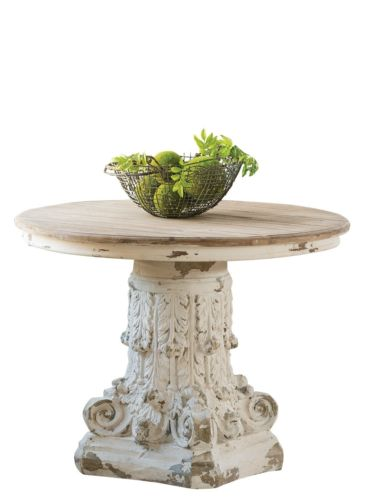 Distressed White Pedestal Table Corinthian 39 x 30