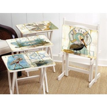 Coastal TV Tray Set - Shore Birds