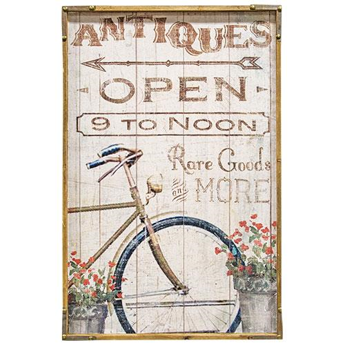 Antiques Open Bicycle Wood Sign