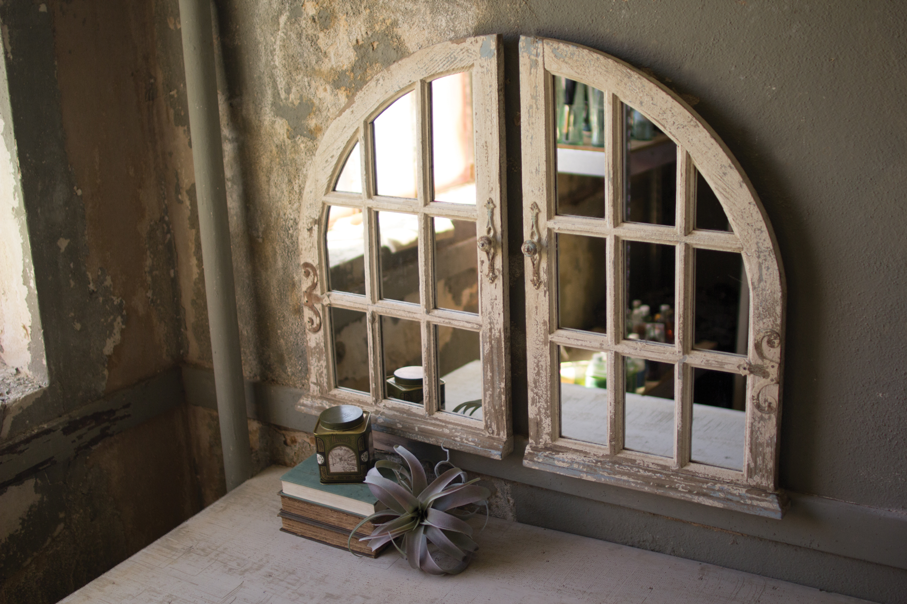 Vintage Distressed Arched Window Mirror