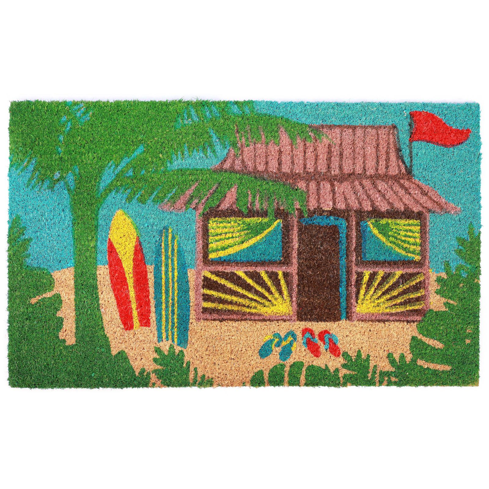 Beach Hut Surfboard Coir Door Mat