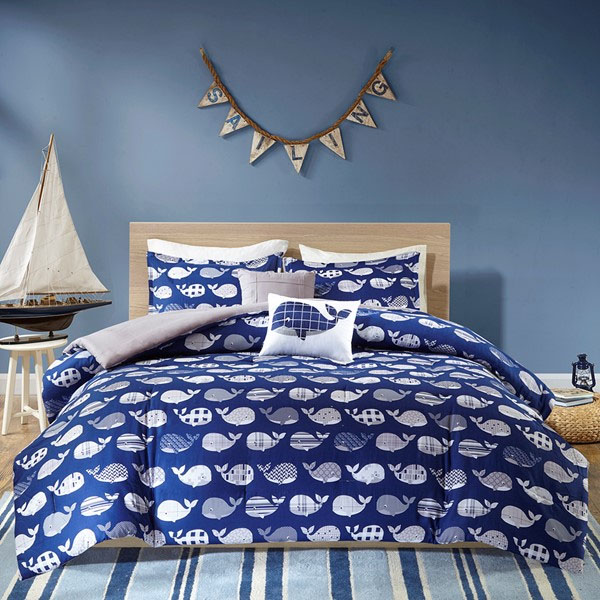 Blue Whale Cotton Comforter Bed Set