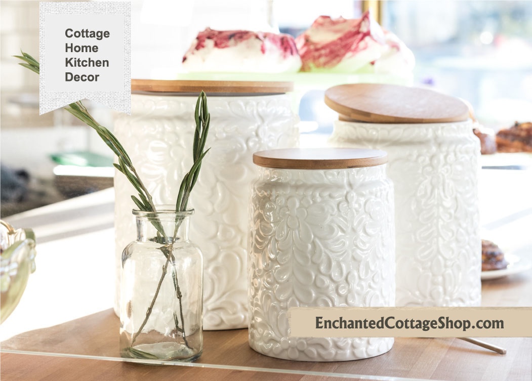 Cottage Ceramic Canister Set of 3