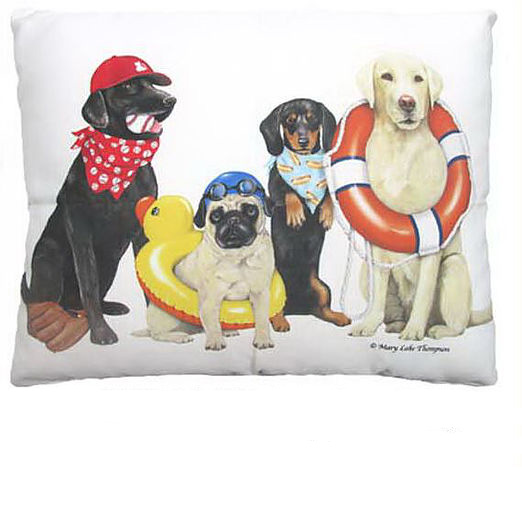 "Dogs of Summer Outdoor Pillow 18"", 24"""