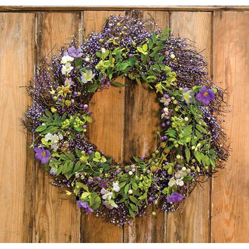 "24"" Wild Spring Floral and Berry Wreath"