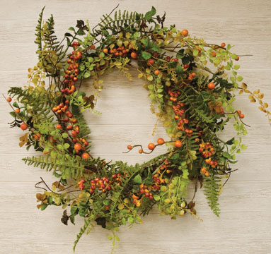 "24"" Fall Berry Cluster Wreath"