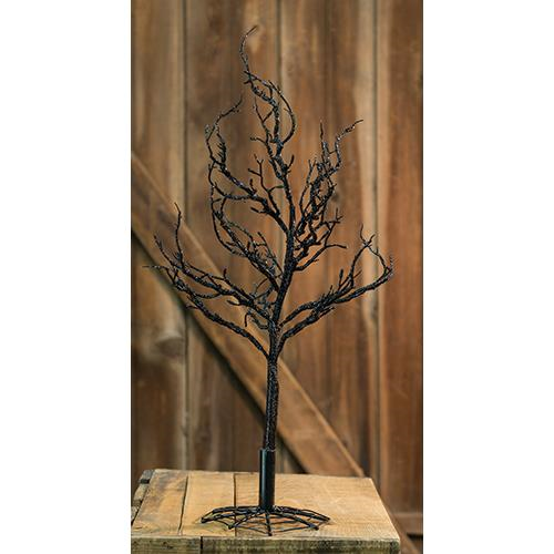 Black Glitter Halloween Tree 18""