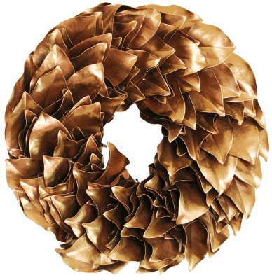 Lacquer Magnolia Leaves Wreath - Gold