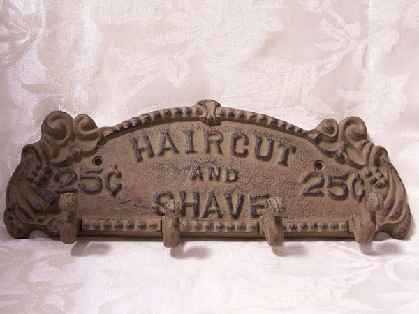 Haircut and Shave Plaque - Rust