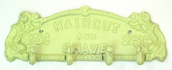 Haircut and Shave Plaque - Antique White