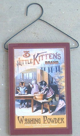 Hanging Wood Laundry Sign - Kitten Brand