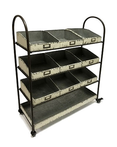 4 Tier Galvanized Bins & Shelf Cart White