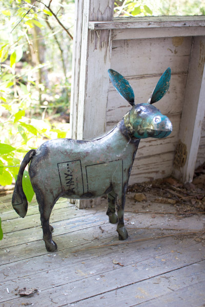 Reclaimed Metal Donkey Figurine
