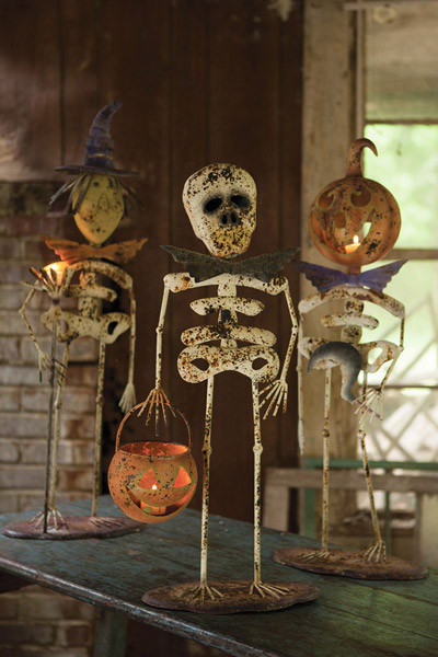 Metal Halloween Witch, Skeleton, Jack O Lantern Set