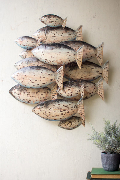 Metal School of Fish Wall Art - $90.00 : Enchanted Cottage Shop ...
