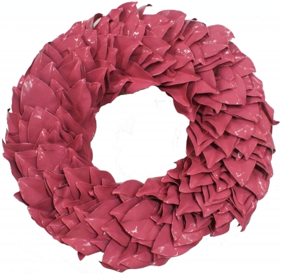 Lacquer Magnolia Leaves Wreath - Pink
